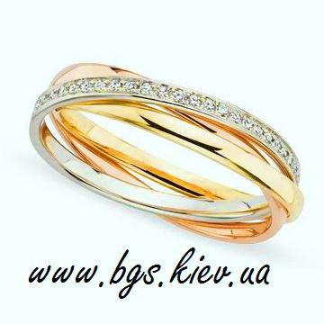 Женское кольцо Cartier Trinity с камнями www.bgs.kiev.ua