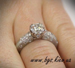 кольцо с бриллиантом золотое фото
