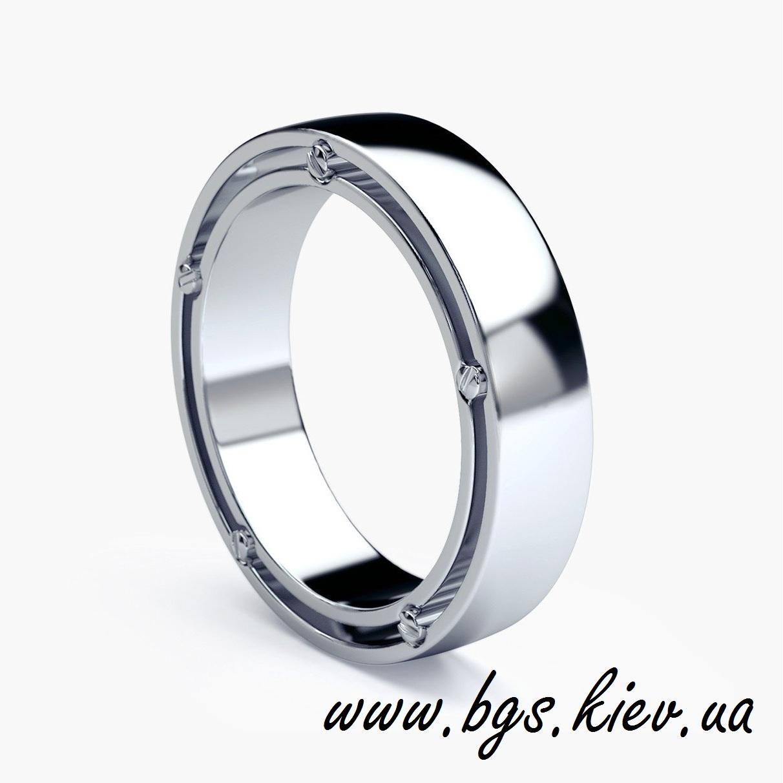 Стильные мужское обручальное кольцо белое золото