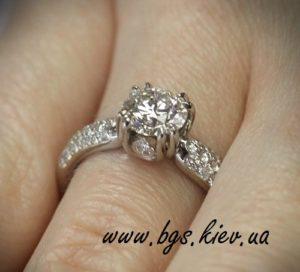 золотое кольцо с камнями в белом золоте