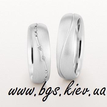 Обручальные кольца из белого матового золота