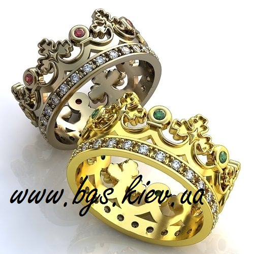 Кольцо в виде короны под обручальные