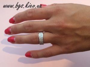Красивое обручальное кольцо белое золото «Осколки бриллианта»