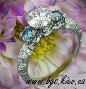 Помолвочные кольца с бриллиантами и сапфирами