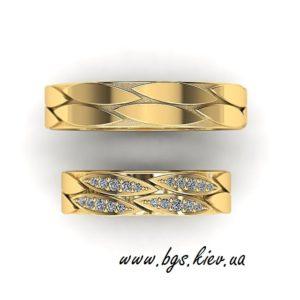 Красивые свадебные кольца из желтого золота