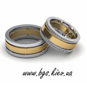 Обручальные кольца из комбинированного золота широкие
