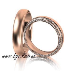 Обручальные кольца красное золото с обсыпкой из камней