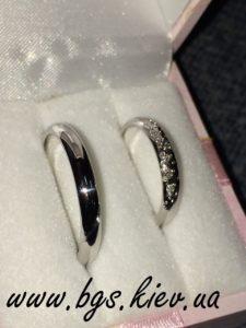 Обручальные кольца белое золото «Звезды» с бриллиантами и шариками