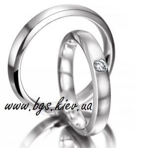 Парные обручальные кольца из белого золота