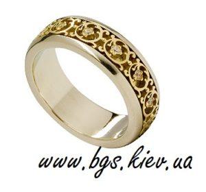 Обручальное кольцо из комбинированного золота «Винтаж» узорные, ажурные