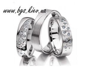 Обручальные кольца из белого золота «Звездопад» форма американка