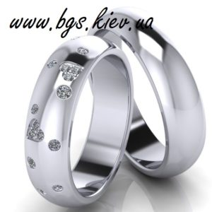 Обручальные кольца из белого золота «Звездное небо» с камнями недорого
