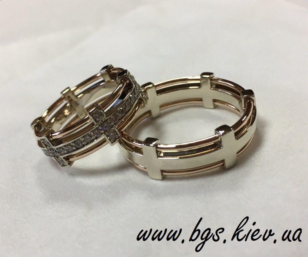 Обручальные кольца из комбинированное золото парные