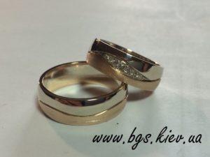 Обручальные кольца из комбинированного золота «Шри-Ланка» эксклюзивные широкие