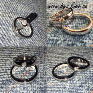 Обручальные кольца с бриллиантом из белого золота «Классика»