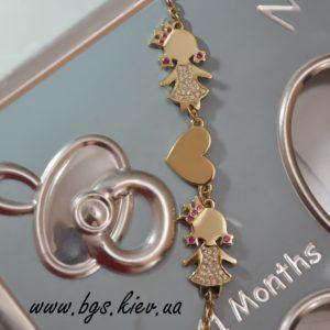 подарок на рождение ребенка золотой браслет