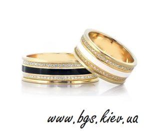 Обручальное кольцо с эмалью из белого золота и желтого золота