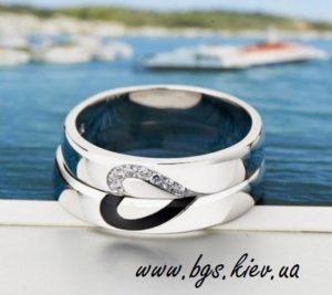 Обручальные кольца парные белое золото с эмалью и камнями