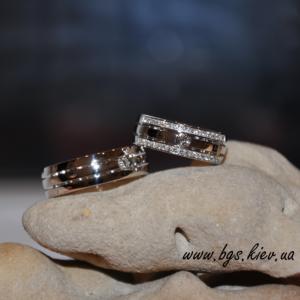 обручальные кольца белое золото с бриллиантами