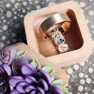 обручальные кольца с сапфирами, пара обручальных колец женское кольцо с сапфирами